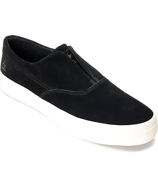 a1cb109ebcec73 HUF Dylan Slip On Black   White Suede Skate Shoes