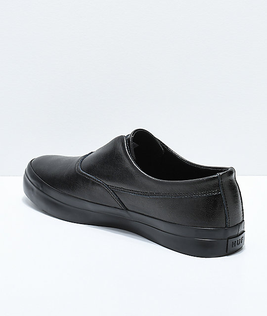 HUF Dylan Slip-On Black Full Grain Leather Skate Shoes