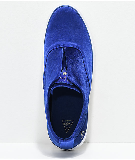HUF Dylan Slip-On Blue Velvet Skate Shoes