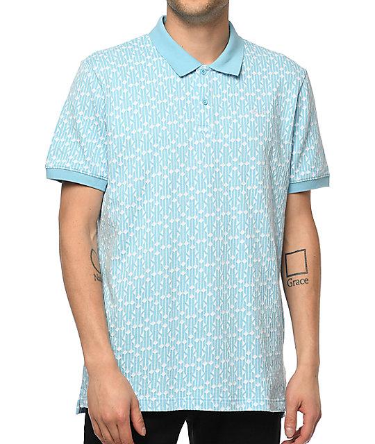 7f586e64c HUF Escher Baby Blue Polo Shirt   Zumiez