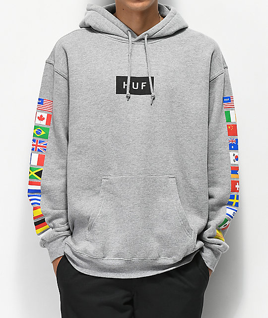gorące wyprzedaże nowy design super jakość HUF Flags Grey Hoodie
