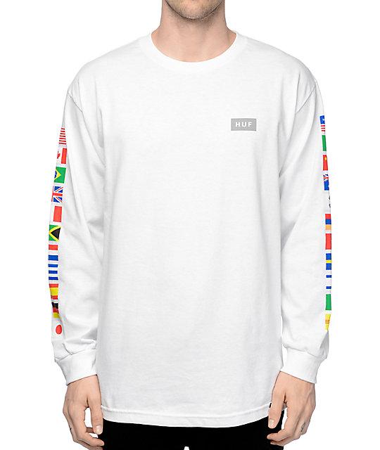 93d72408f71ab HUF Flags White Long Sleeve T-Shirt | Zumiez