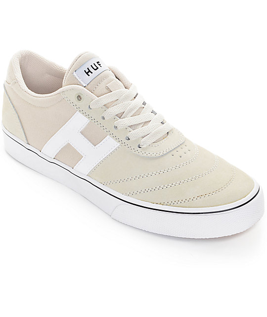 HUF Galaxy Bone White Suede & Canvas Skate Shoes ...