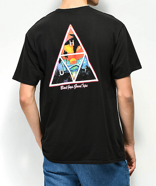 HUF Good Trips Triange Black T-Shirt