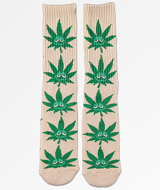 HUF Green Buddy Tan Crew Socks