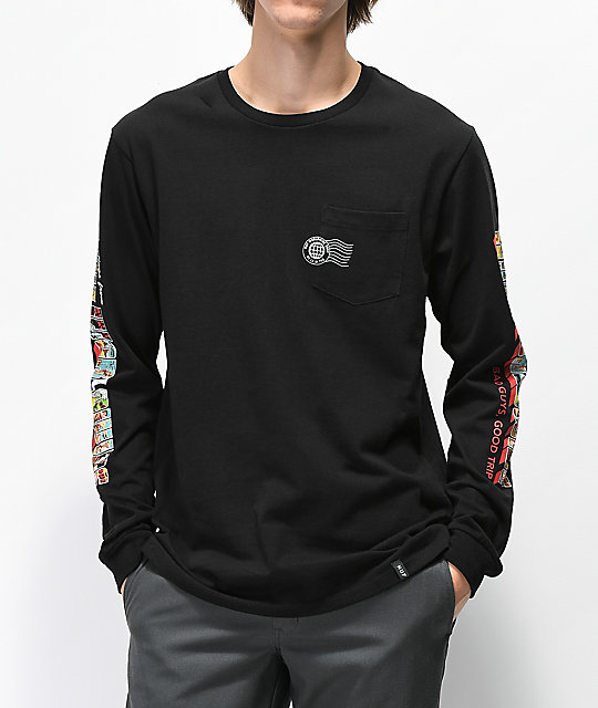 HUF Greetings Black Long Sleeve T-Shirt