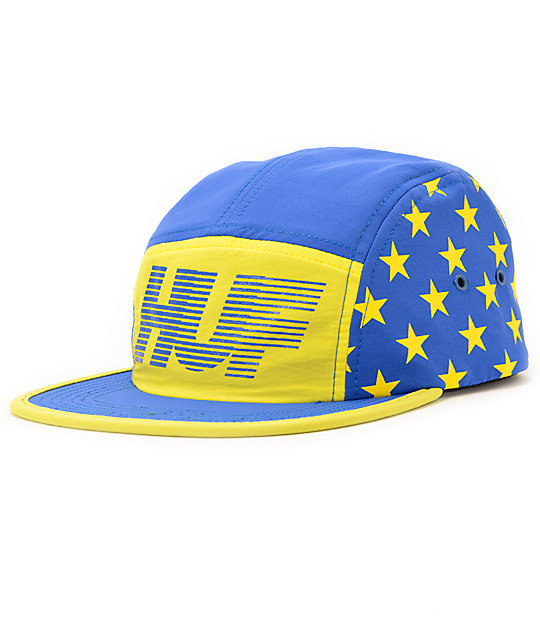 HUF Hell Track Blue   Yellow 5 Panel Hat  76434ce2bf5