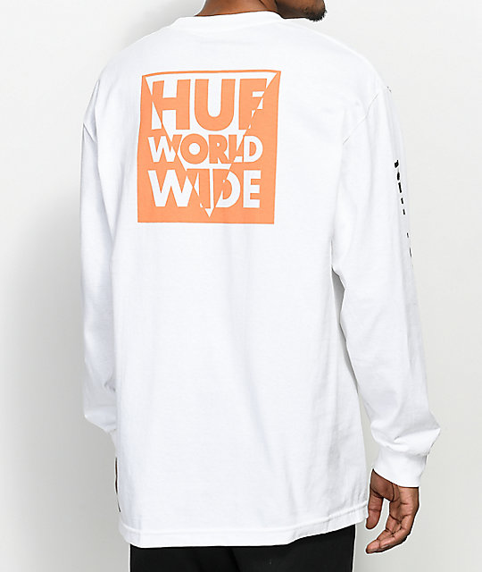 Long Sleeve T-Shirt With International Block Print - White HUF Sale Pictures eIUfN