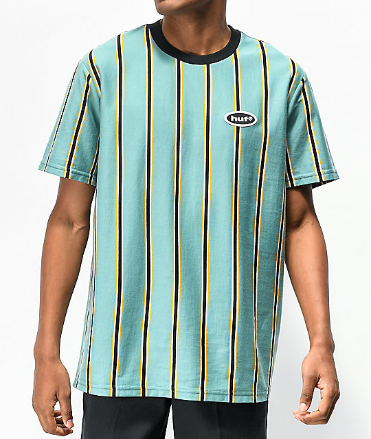 HUF Jerome Stripe Green, Black & Yellow Knit T-Shirt