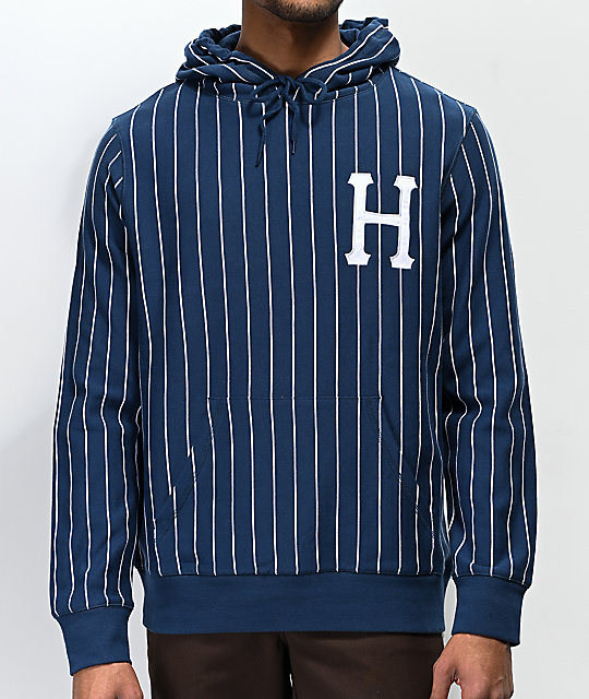 Huf League Navy & White Pinstriped Hoodie by Huf