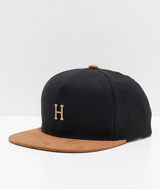 577c63407c7 HUF Metal H Black Strapback Hat