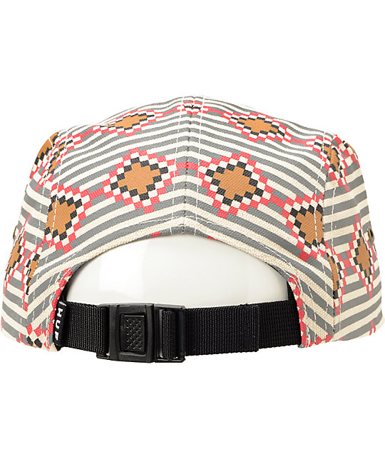 HUF Native Print Grey Duck Canvas 5 Panel Hat