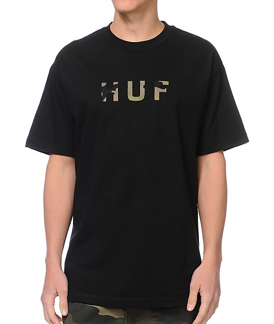 HUF Original Logo Black & Camo Fill T-Shirt