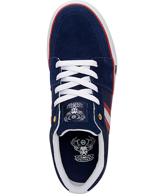 HUF Pepper Pro Navy, Red, & White Suede Skate Shoes