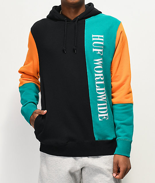 HUF Piet Blocked Black, Orange & Teal Hoodie