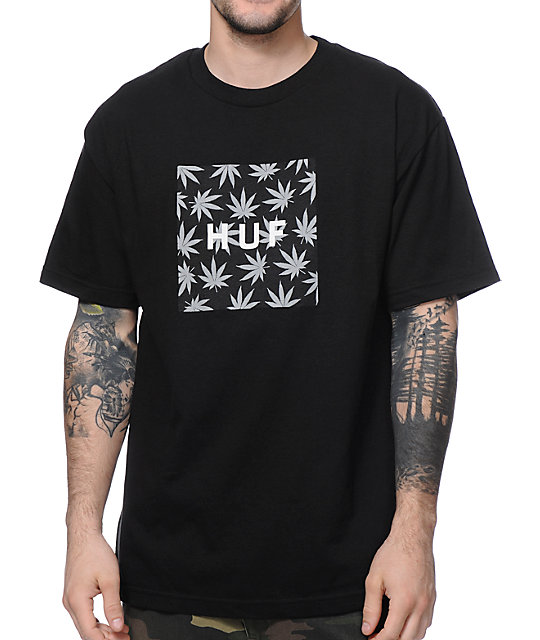 HUF Plantlife Box Logo Black T-Shirt