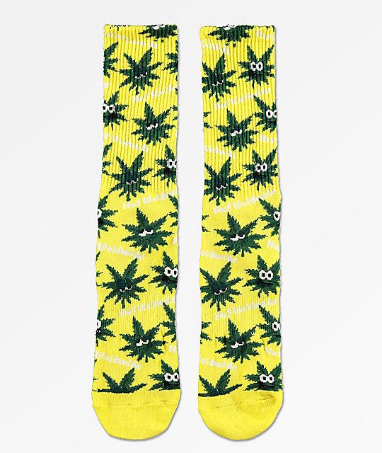 bb0aa34ab9a HUF Plantlife Green Buddies 2 Yellow Crew Socks