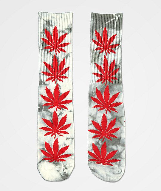 a902ad893 HUF Plantlife Grey & Red Tie Dye Crew Socks | Zumiez