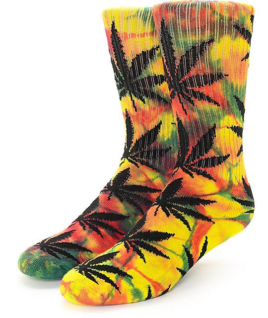 014c691bc3 HUF Plantlife Tie Dye Rasta Rainbow Crew Socks