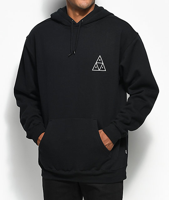 a51b07bd271cf HUF Roses Triple Triangle Black Pullover Hoodie | Zumiez