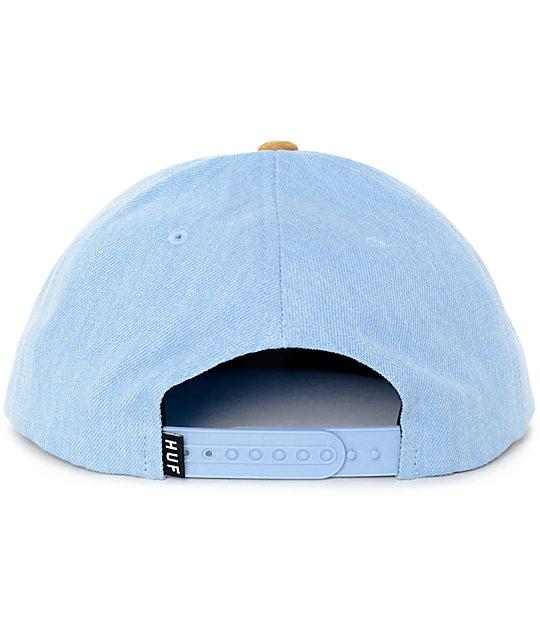 4b3646713b603 ... HUF Script Denim Blue Snapback Hat