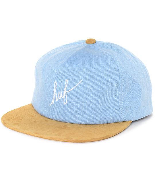 HUF Script Denim Blue Snapback Hat  77d077fb7cc