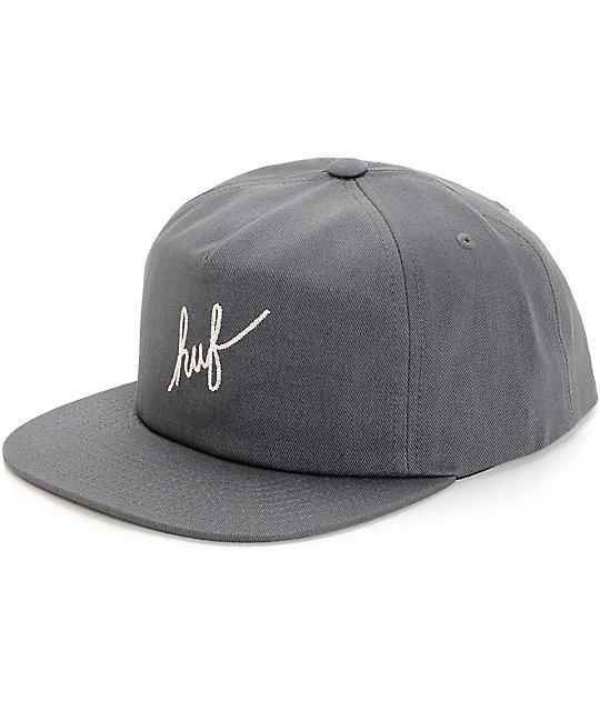 b0ca9c8bbf93c HUF Script Grey Snapback Hat
