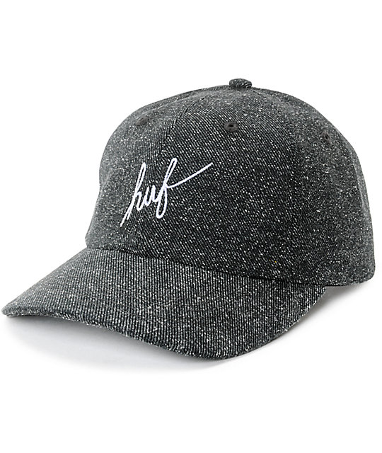 HUF Script Logo Black Tweed Strapback Hat  cc099946f39