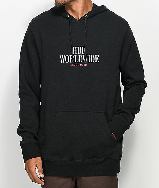 HUF Serif Stack Black Hoodie ...