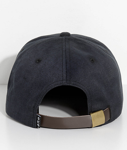 7a72015f4d6 ... HUF Small Metal H Black Strapback Hat
