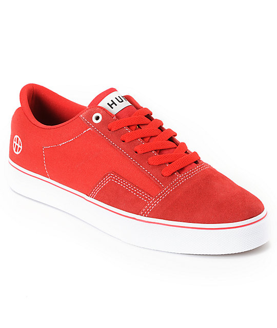 HUF Southern Canvas & Suede Red Skate Shoes