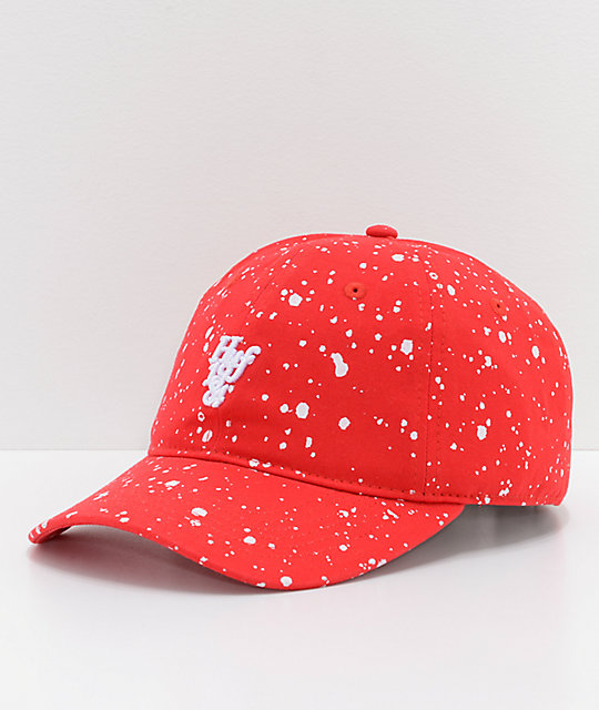 HUF Splattered Bleach Red Strapback Hat