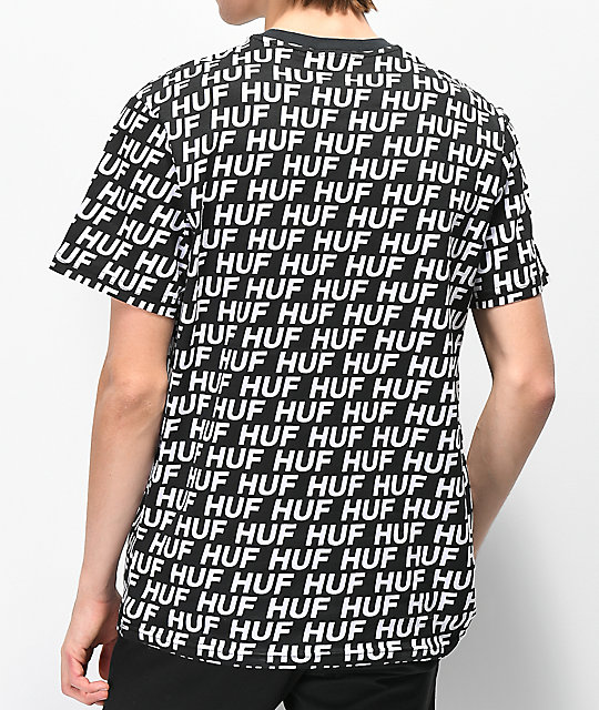 HUF Transit Logo All Over Print camiseta negra