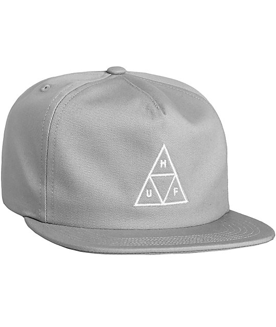 3c40a22be01 HUF Triple Triangle Cloud Grey Snapback Hat