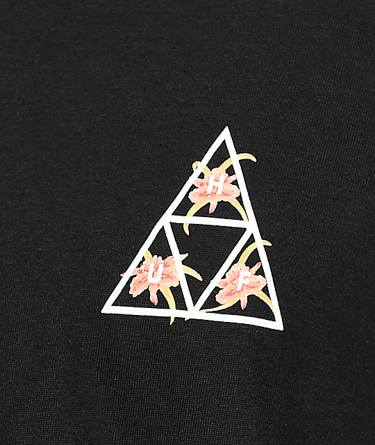 HUF Triple Triangle Floral Black T-Shirt