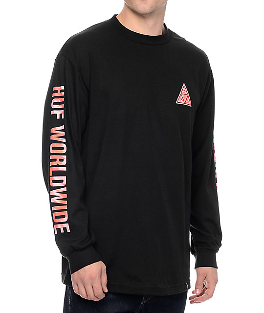 Huf triple triangle red tie dye black long sleeve t shirt for How to dye a shirt red