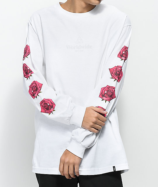 HUF Triple Triangle Rose White Long Sleeve T-Shirt