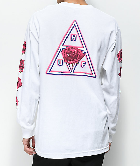 4a7fc63d97 Shoptagr | Huf Triple Triangle Rose White Long Sleeve T Shirt by Huf