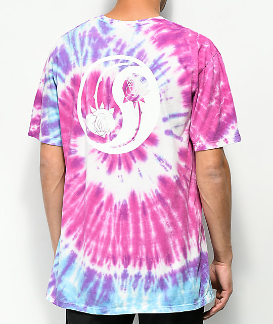HUF War Of The Roses camiseta morada con efecto tie dye