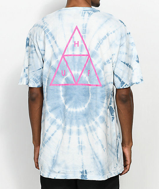 HUF Wash Triple Triangle camiseta blanca y azul