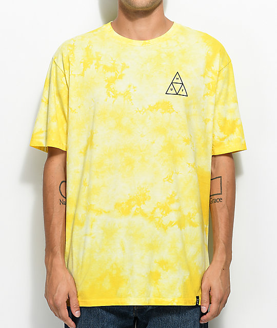 HUF White Wash Yellow Tie Dye T-Shirt