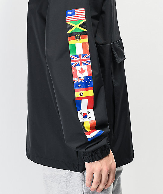 HUF Worldwide Tour Black Anorak Jacket