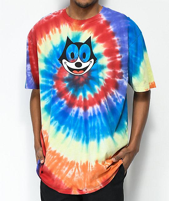 d6d0b1e54054d HUF X Felix the Cat Hypno Spiral Rainbow Tie Dye T-Shirt