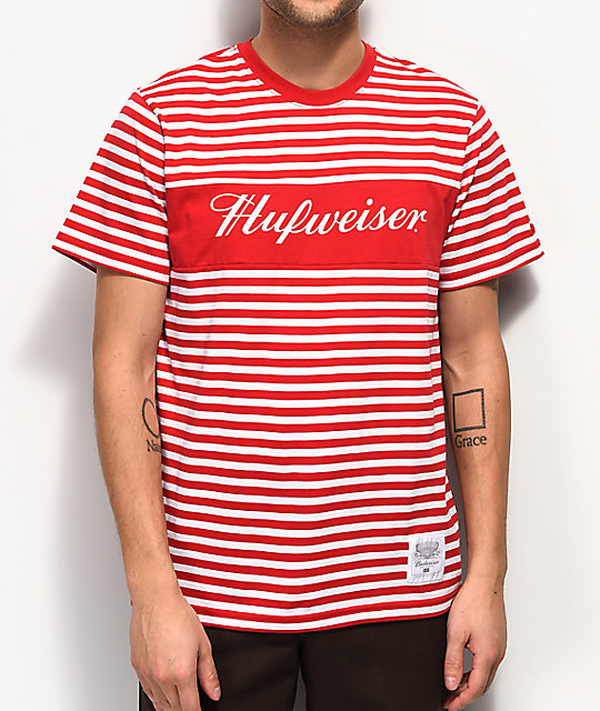 eede8de7c2 HUF x Budweiser Stripes Red T-Shirt | Zumiez