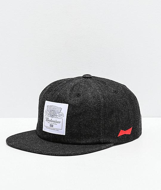 0b16f180234bd HUF x Budweiser gorra de mezclilla negra ...