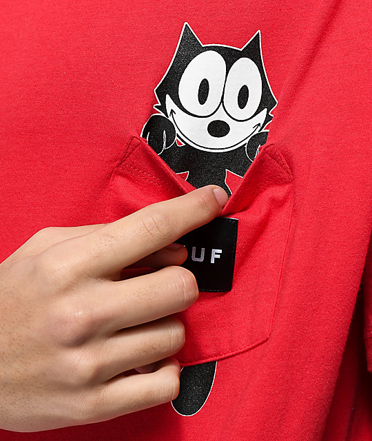 HUF x Felix The Cat Watching Pocket Red T-Shirt