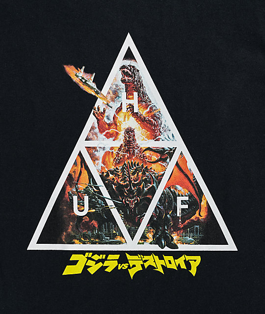 HUF x Godzilla Triple Triangle Black T-Shirt