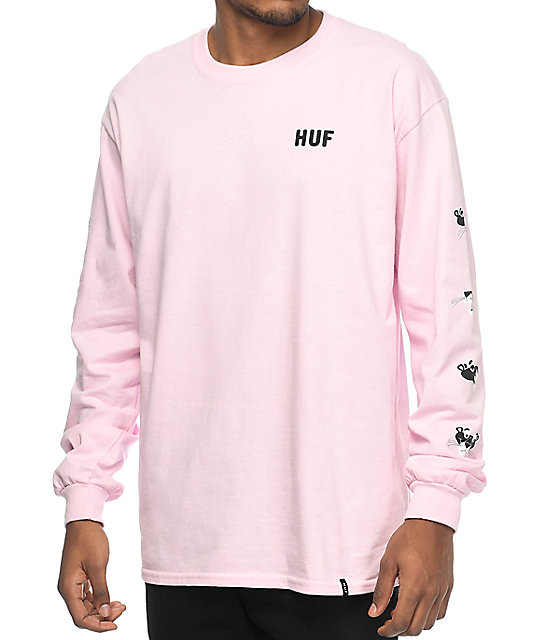 Huf x pink panther heads pink long sleeve t shirt zumiez for Mens pink long sleeve shirt