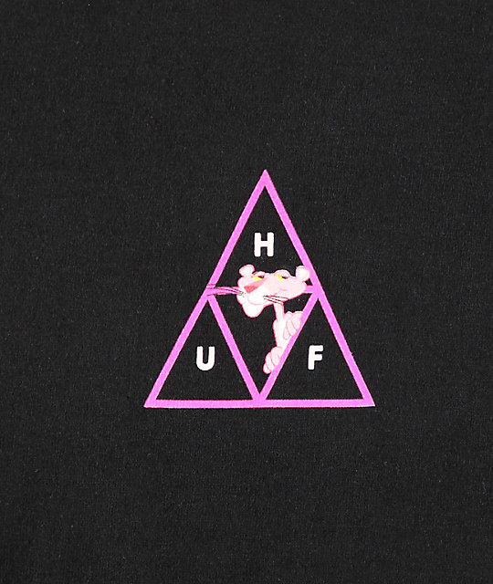 HUF x Pink Panther Triple Triangle camiseta negra