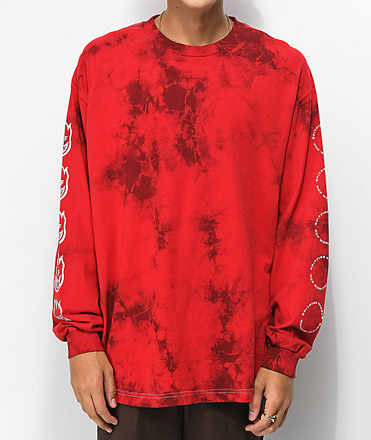 HUF x Spitfire Burn Faster Red Tie Dye Long Sleeve T-Shirt